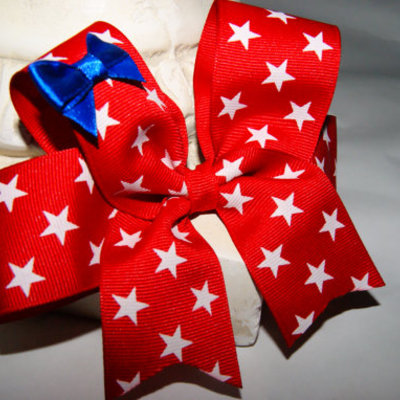 All star red, white, and little blue boutique hair bow