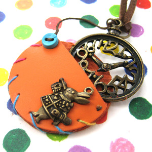 Alice in Wonderland Pocket Watch Clock Rabbit Charm Necklace in Orange