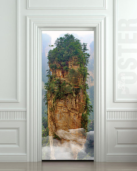 Door sticker avatar cinema film mountain rock mural decole for Door wall mural