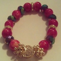 Red & Gold Heart Bracelet (Little Diva's Collection)