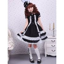 Black Lace Dress  Sleeves on Black Cross Tie Ribbon Corset White Lace Pleated Skirt Sweet Lolita