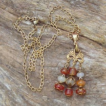 Carnelian and Antique Gold Pendant with Necklace
