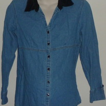 Long Sleeve Denim Shirt with Black Collar-Oh! Mamma Size Small