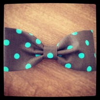 Brown polka dot Bow