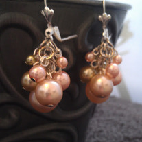 Pink & Green Cluster Earrings