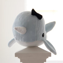 narwhal plush toy- Starla- baby blue soft fluffy fleece whale narwal plushie