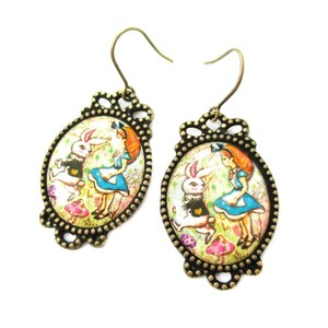 Bunny Rabbit and Alice in Wonderland llustrated Dangle Earrings