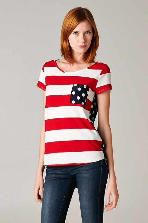 4th July Patriot Striped Top With Polka Dots Pocket
