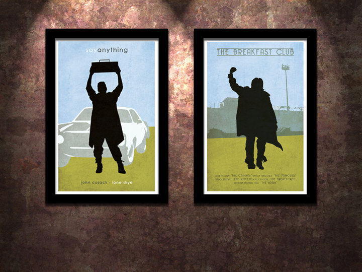 80 u0026 39 s icons 2 pack say anything    the breakfast club original limited edition art print poster