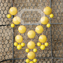 large knotiebubble necklace - yellow w/gold