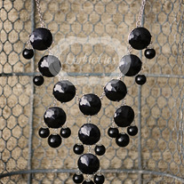 large knotiebubble necklace - black w/ silver