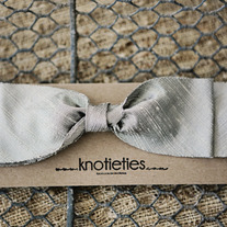 big silk knotiebow headband - pewter
