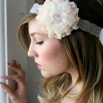 white heaven ruffle headband