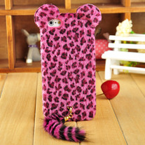Leopard Partten Plush Covered w/ Tail iPhone 5 Case