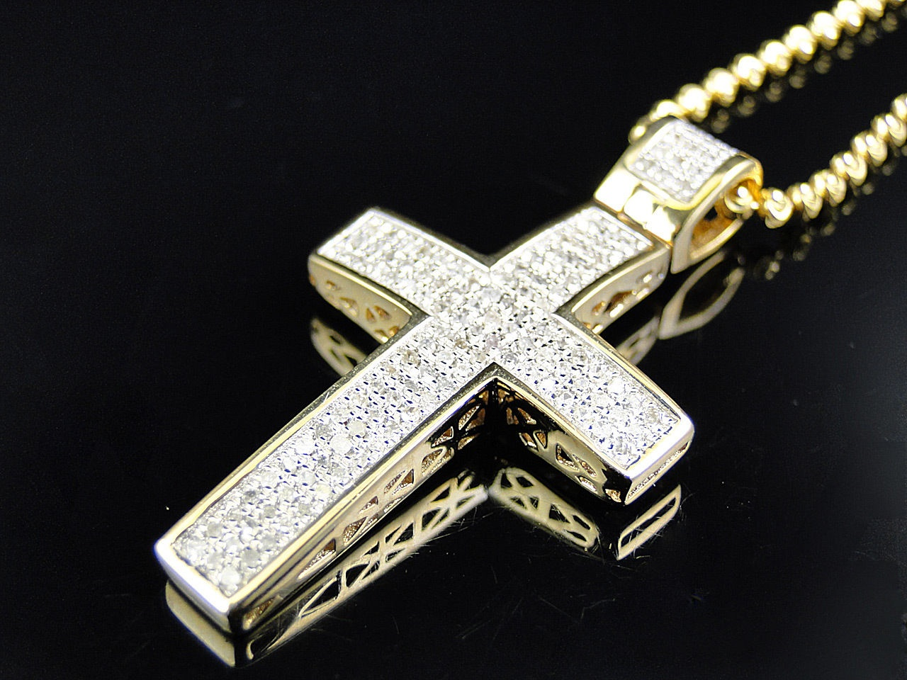 Mini genuine 075 ct diamond cross pendant chain in 10k yellow mini genuine 075 ct diamond cross pendant chain in 10k yellow gold finish thumbnail aloadofball Choice Image