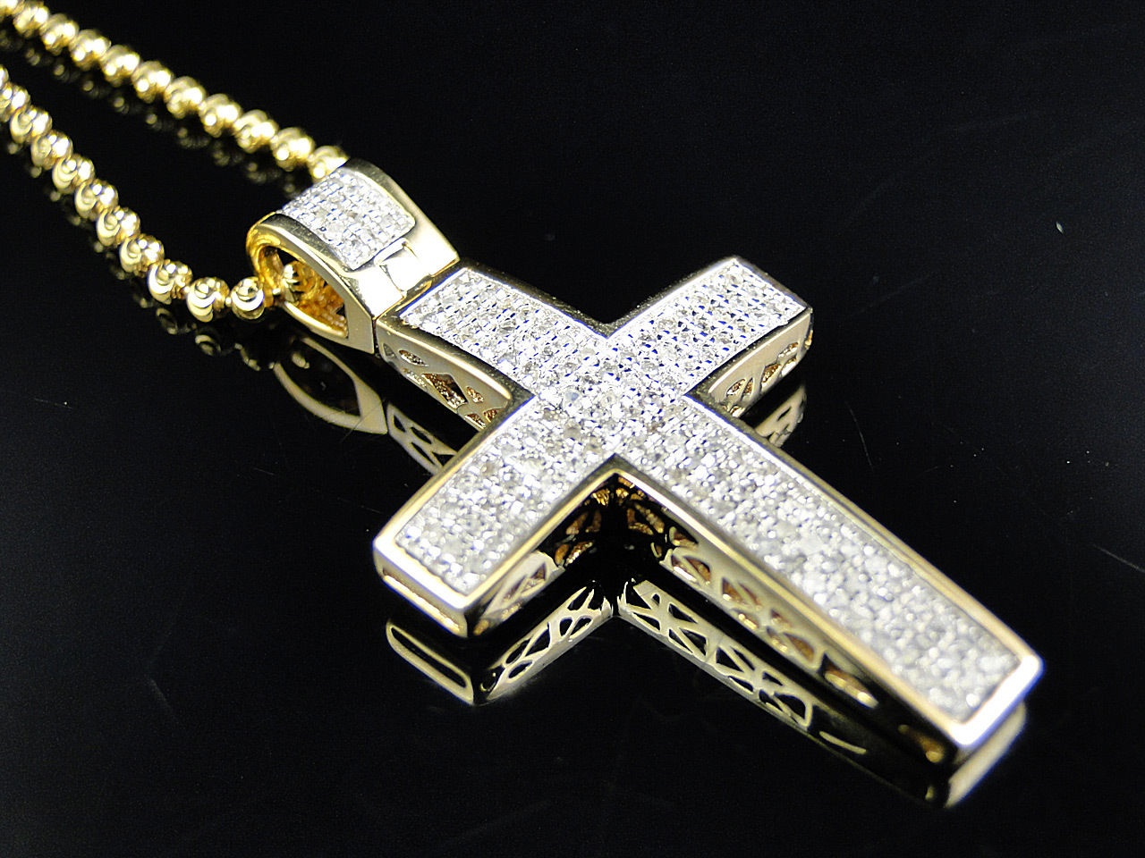 Mini genuine 075 ct diamond cross pendant chain in 10k yellow mini genuine 075 ct diamond cross pendant chain in 10k yellow gold finish thumbnail mozeypictures Choice Image