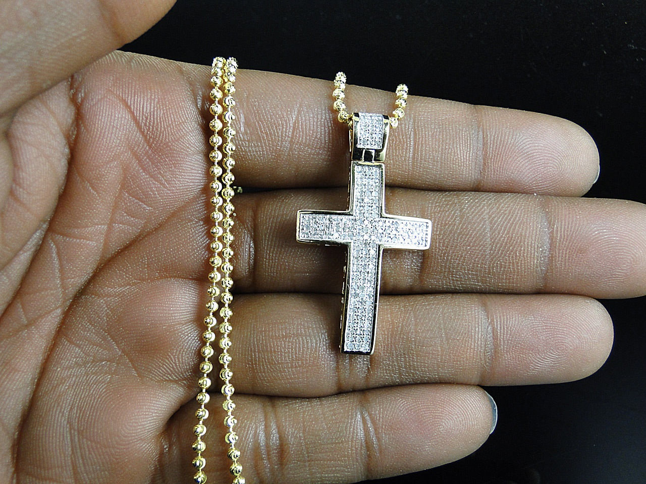 Mini genuine 075 ct diamond cross pendant chain in 10k yellow mini genuine 075 ct diamond cross pendant chain in 10k yellow gold finish thumbnail mozeypictures Gallery