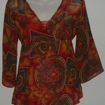 Orange/Green Sheer Top with Built in Cami-Announcements Maternity Size Small
