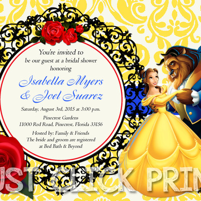 beauty and the beast bridal shower or birthday invitation printable