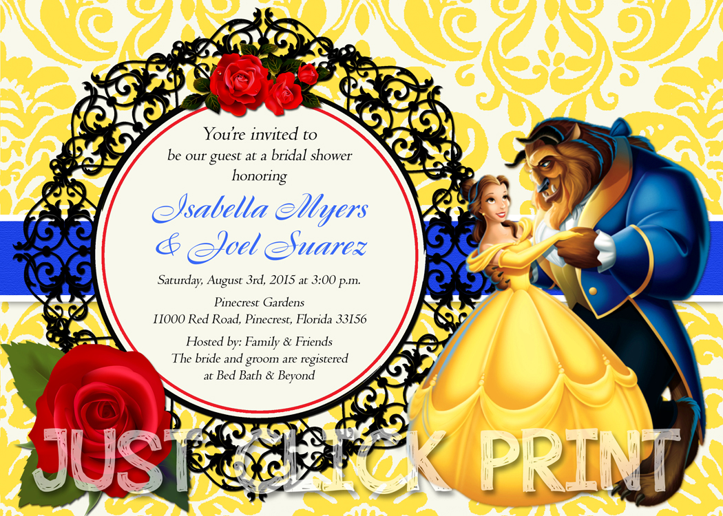 Impeccable image in free printable beauty and the beast birthday invitations