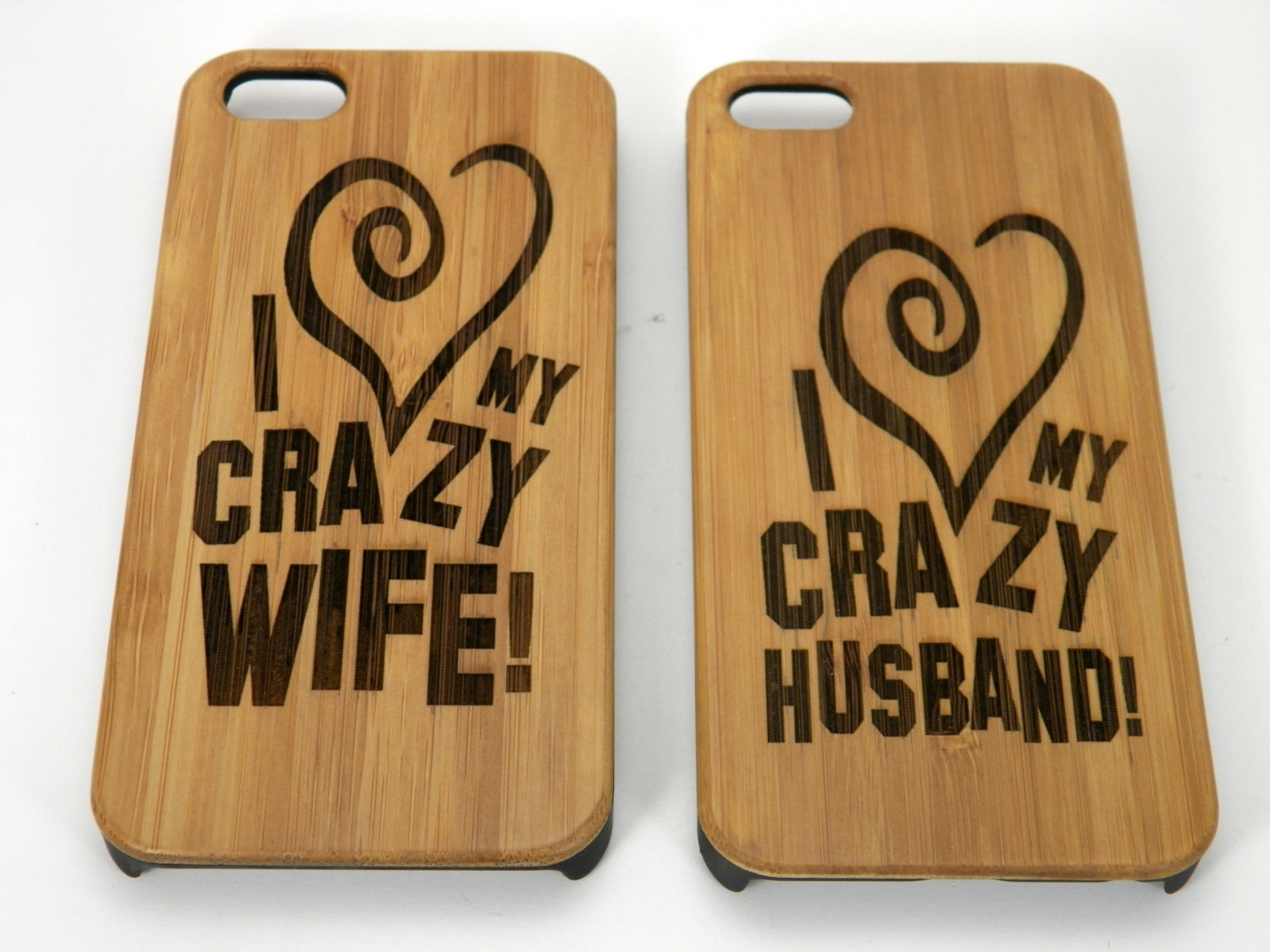 Online Gift For Husband On Wedding Night : Crazy Husband & Wife iPhone 5 5S Case Gift Set. Bamboo Wood Cover Skin ...