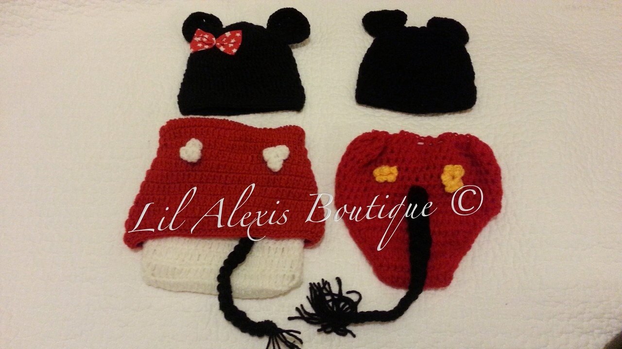lil alexis boutique  twin mickey and minnie mouse set for newborn, Baby shower