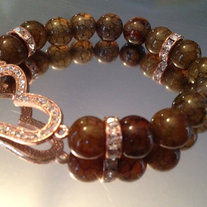 Heart Stretch Bracelet w/ Rose Gold Heart and Green Mix Agate Beads