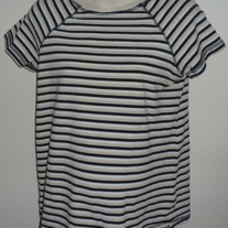 Black/White/Tan Stripe Shirt-Motherhood Size Medium