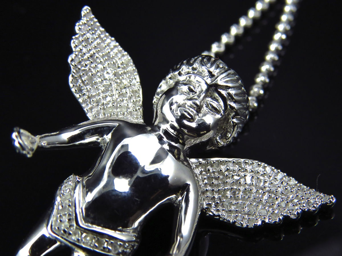 Genuine diamond cherub angel pendant charm chain 10ct finished in genuine diamond cherub angel pendant charm chain 10ct finished in white gold aloadofball Image collections