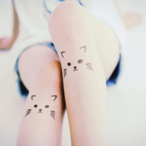 Cat print tattoo tights - Thumbnail 1