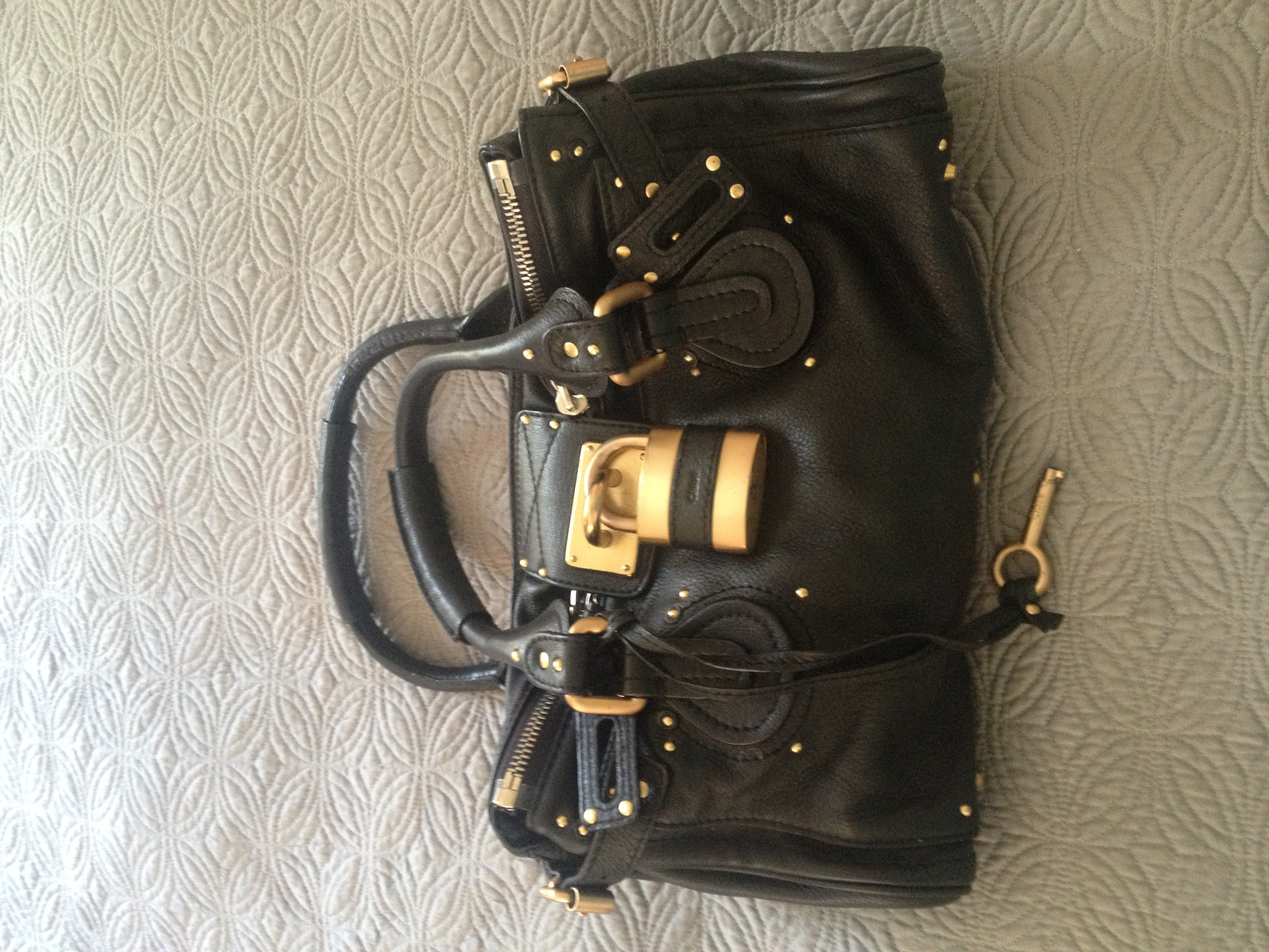 Chloe Black Leather/Gold Lock Paddington Bag �� La Fleur Styling ...