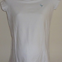 White Shirt with Blue Stork-New Additions Maternity Size Small
