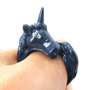 Adjustable Unicorn Animal Wrap Around Ring in Navy Blue