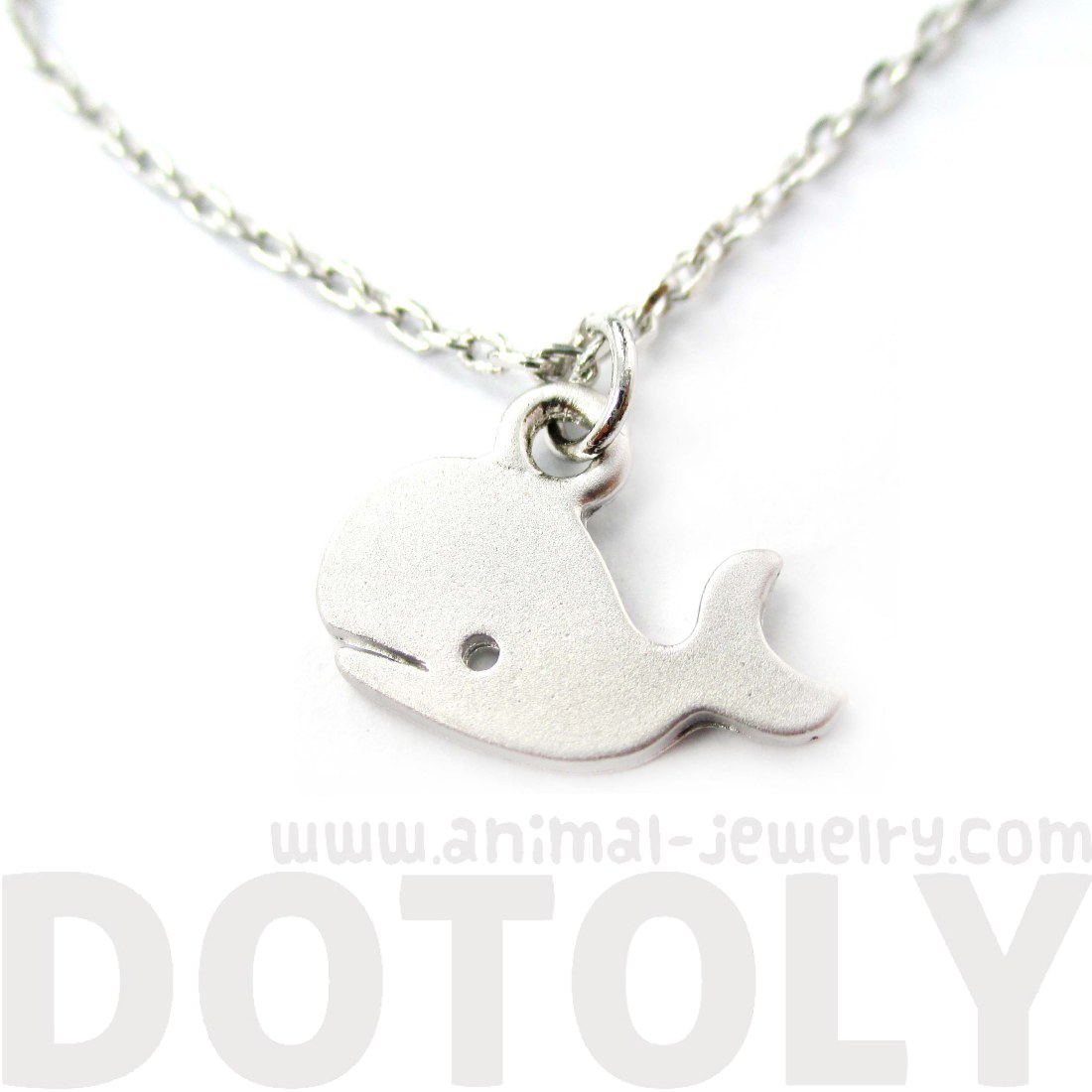Cute Simple Whale Silhouette Animal Charm Necklace in Silver ...