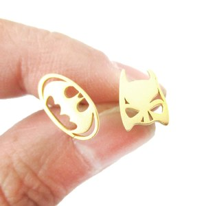 Batman Mask and Logo Shaped Silhouette Allergy Free Stud Earrings in Gold