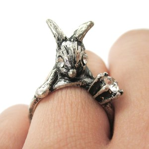 Bunny Rabbit Sitting On Top Of Your Finger Shaped Animal Ring in Silver | Size 6 ONLY