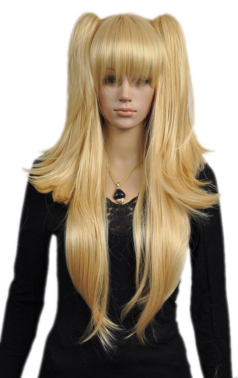 Anime-Long Straight Blonde-Two Ponytail Full Hair Anime Wig-(Blonde ... c91545c66