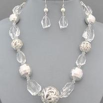 Clear Silver Chunky Beaded Necklace Set