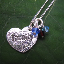 Family Heart Necklace with 3 Birthstones