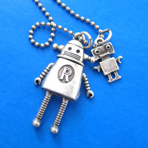 Cute Robot Wall-e Charm Necklace in Silver