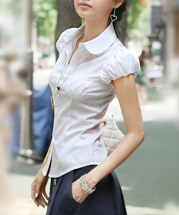 Xs s m white pan collar button up short puff sleeve shirt for Women s button down shirts extra long