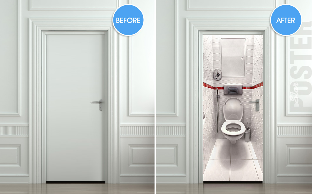 Accessoires wc mural 130044 ontwerp for Poster porte wc