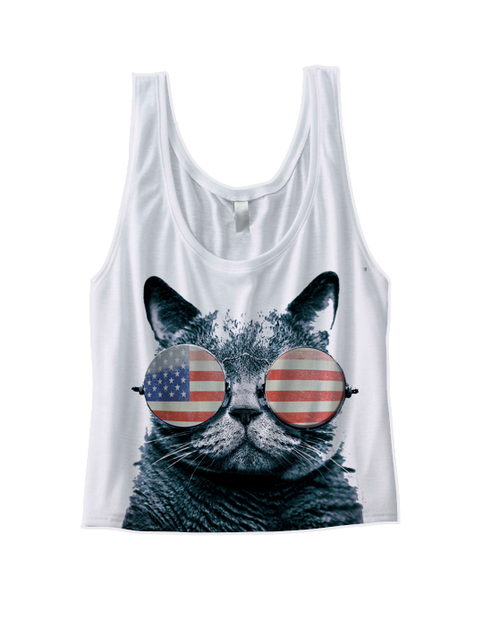 Usa Kitten Crop Top American Flag Cat Wearing Glasses I