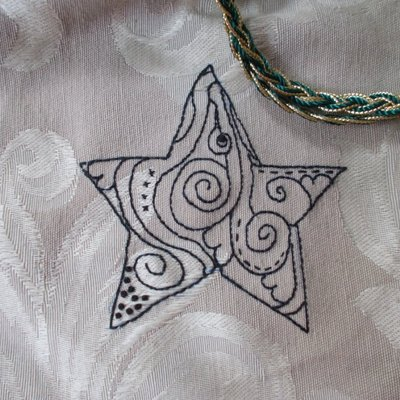 Embroidered star tarot card bag