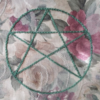 Pentacle tarot bag hand embroidered