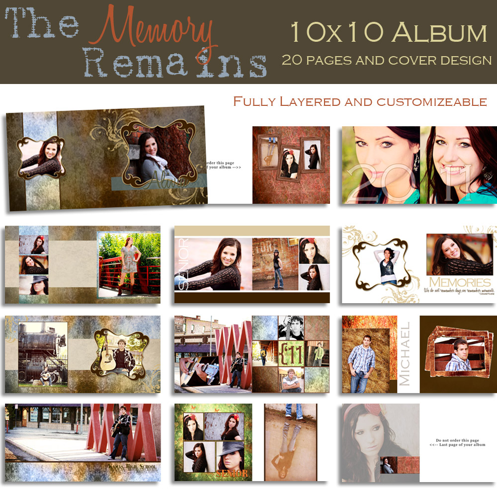 Fototale designs the memory remains 10x10 senior photo album custom photo - Customiser album photo ...