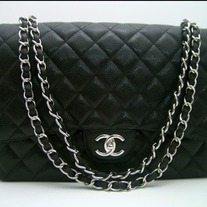 Chanel Classic Black Caviar Maxi Double Flap Handbag with Sliver Hardware