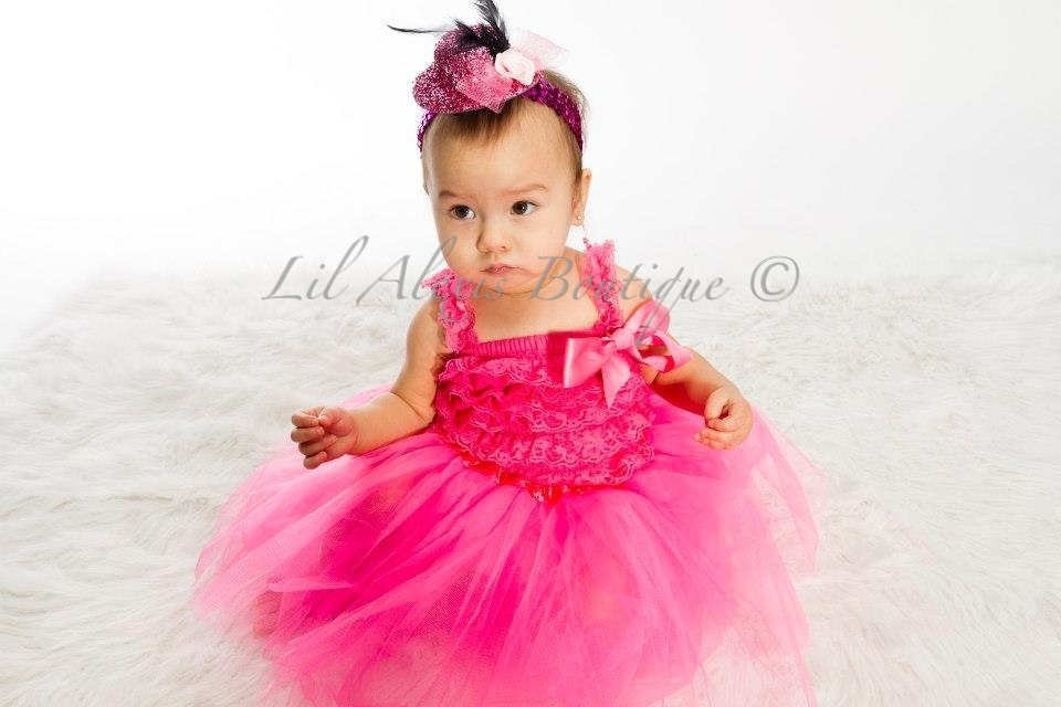 Hot Pink Tutu Skirt Ruffle Lace Romper Top Dress Set With Peony Sequin Or