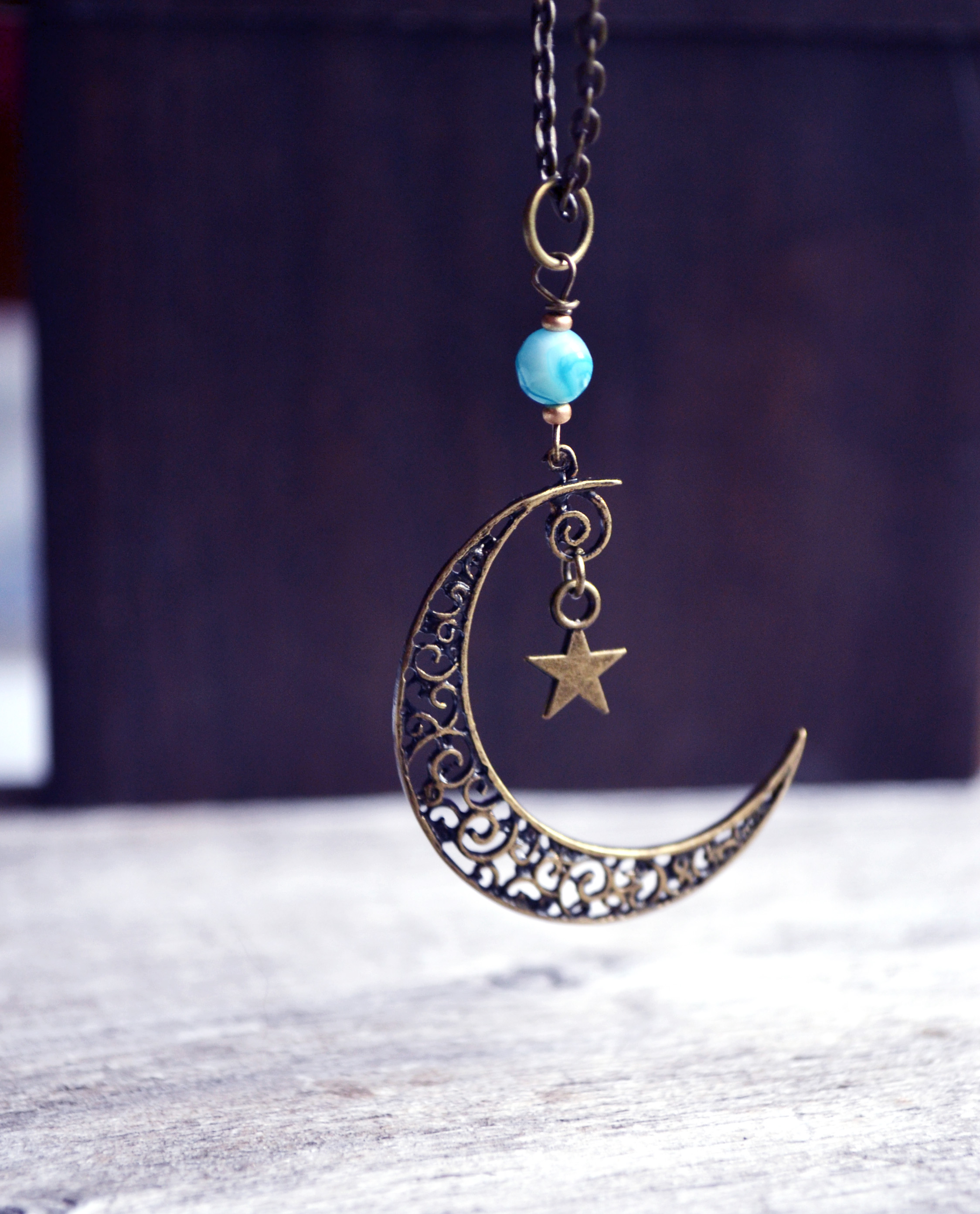 us moon pendant half necklace icing
