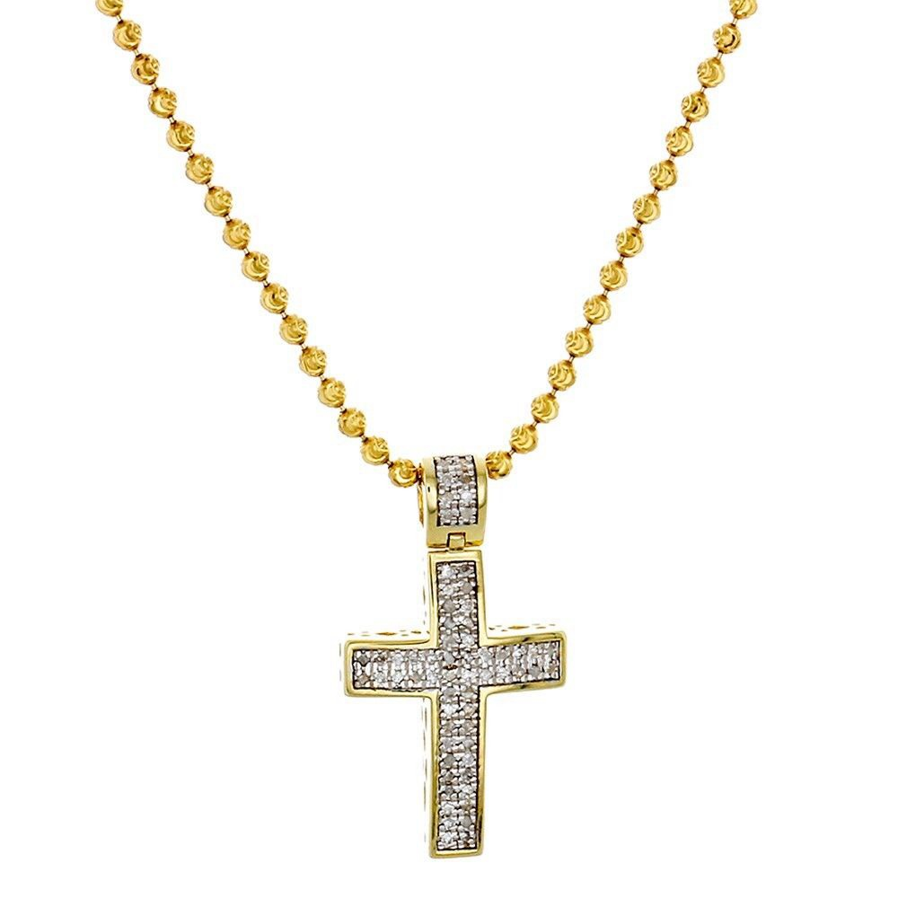 Diamond Pendant Mini Jesus Piece Cross .925 Charm 0.33 Ct with ...